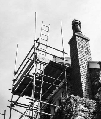 scaffolding for honey bee removal from chimney